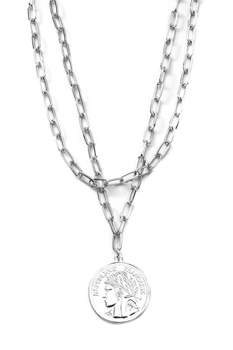 Picture of Silver Coin Drop Necklace