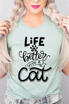 Picture of Life Is Better With A Cat Graphic Tee