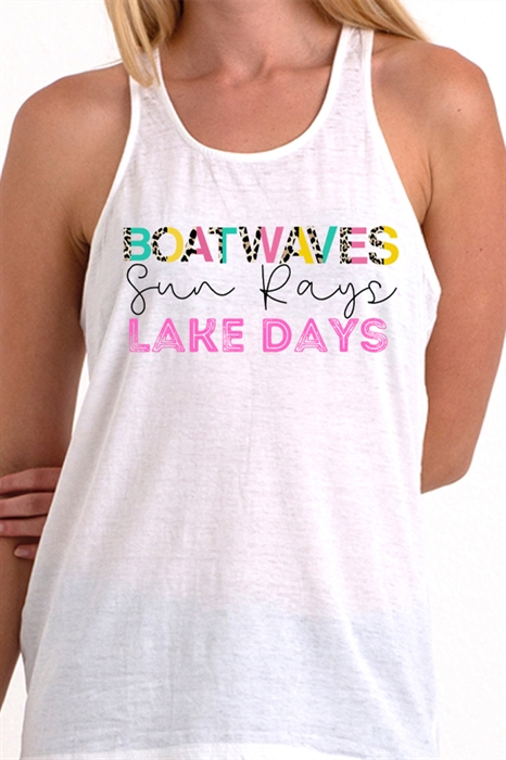 Picture of Boat Waves Knotted Back Graphic Tank