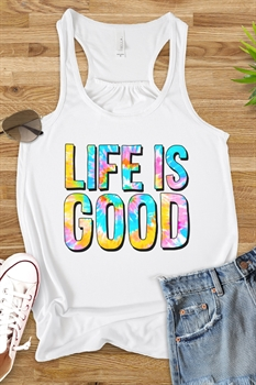 Picture of Life is Good Tie Dye Flowy Graphic Tank