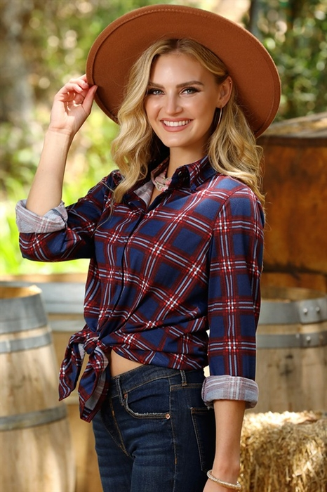 Picture of Plaid Button Down Top