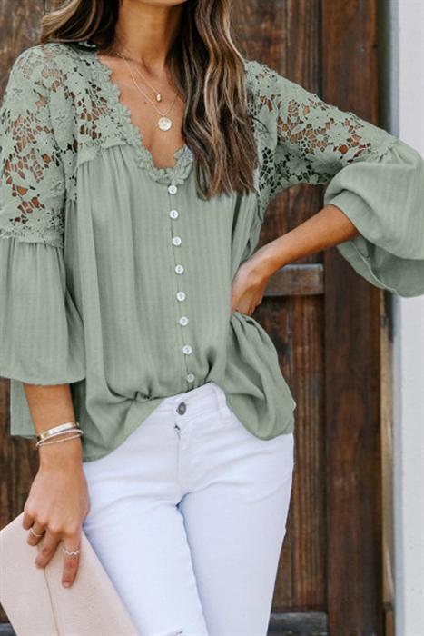 Picture of Sarah Sue Lace Button Up Top   Green
