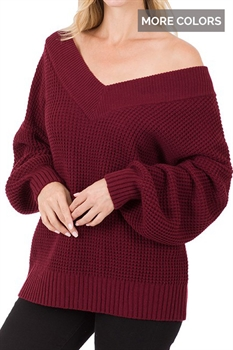 Picture of Balloon Sleeve Waffle Sweater