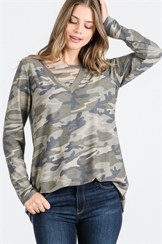 Picture of Maisie Camo V-Neck Top