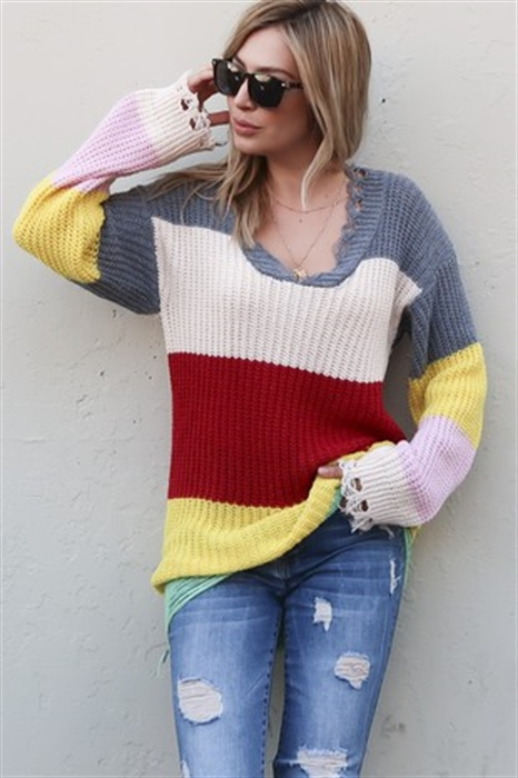 Picture of Distressed Striped Sweater